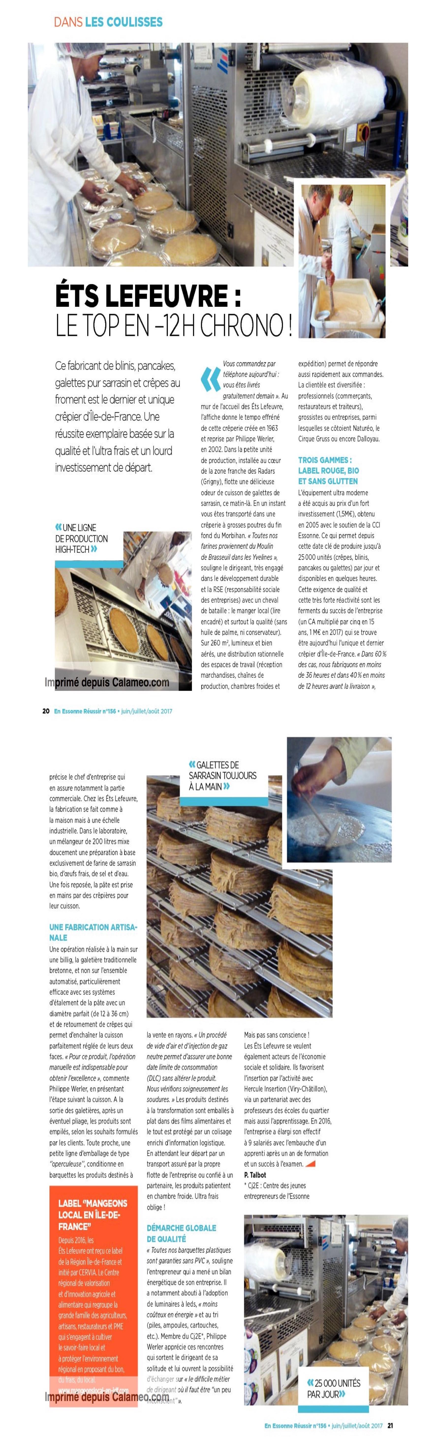 Ets LEFEUVRE Fabricant crªpier depuis 1963 Article magazine